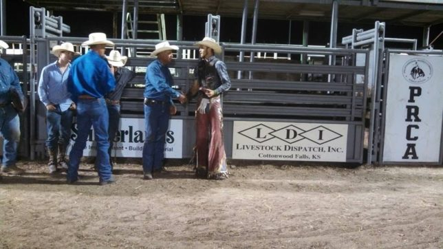 Six bull riders collected checks presented by Kim Reyer at the conclusion of the fourth annual Flint Hills Bull Blowout at Strong City, with the first place trophy and check for $651 going to Derek Brumitt of Plainville.