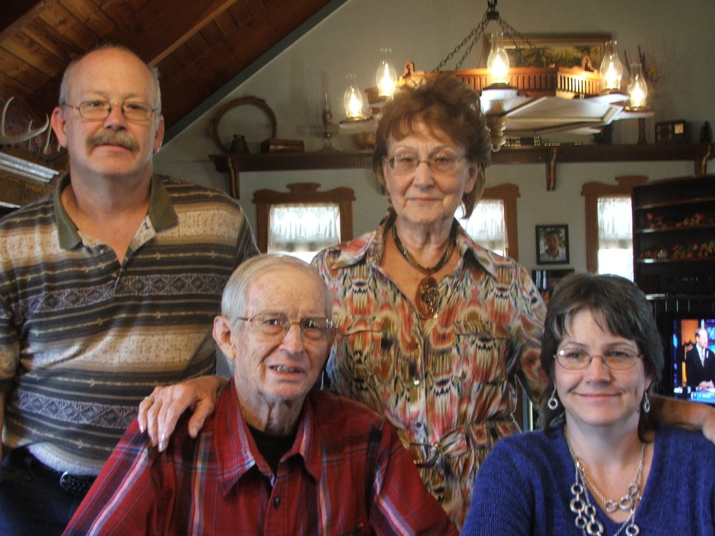 """Bud and Rosalie Dugan are with their children, Garrett and Shari, in the """"dream home"""" the artistic woodworker built at the north edge of Alta Vista where he was raised and returned to live for the rest of his life."""