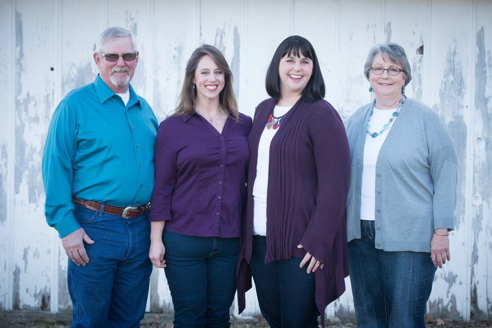 Larry and Linda Johnson are with their daughters, Marla and Emily. at the Mashed O Ranch south of Council Grove.