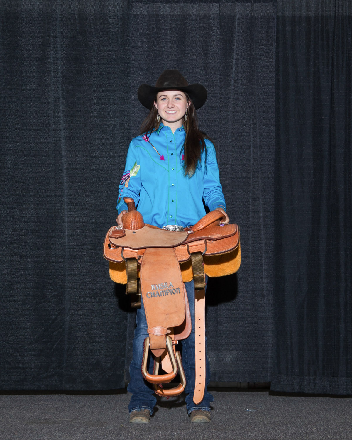 All-around cowgirl title was awarded to Paige Wiseman, Paola, at the conclusion of the Kansas High School Rodeo Finals in Topeka. She was the yearend champion in breakaway roping and girls cutting as well as ranking in the top four in both goat tying and pole bending, qualifying to complete in all four events at the National High School Rodeo Finals, July 13-19, in Rock Springs, Wyoming (Photo courtesy Kent Kerschner, www.fotocowboy.com, kent@fotocowboy.com.)