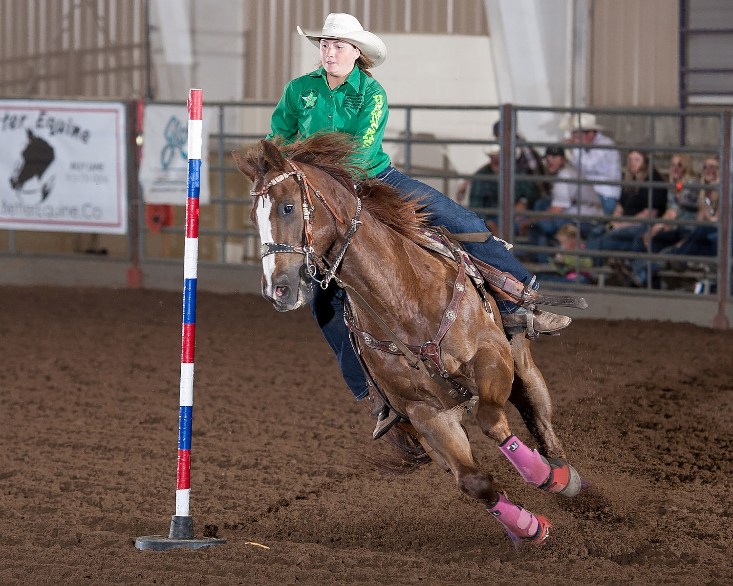 Shelby Whiting, Paola, was the yearend champion in pole bending following the Kansas High School Rodeo Finals at Topeka. (Photo courtesy Kent Kerschner, www.fotocowboy.com, kent@fotocowboy.com.)