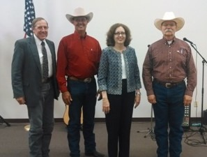 Serving as judges for the 2014 Kansas Cowboy Poetry Contest in Alma were Frank Buchman, WIBW FM; Kyle Bauer, KFRM Radio; Marie Martin, Flint Hills Discovery Center Foundation; and Chief Justic Lawton Nuss of the Kansas Supreme Court. Photo By: Ron Wilson