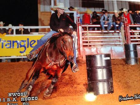 "The bay 17-year-old Quarter Horse gelding called Snake took Micah Samples of Abilene to a first place barrel racing finish in her home college rodeo at Northwestern Oklahoma State University in Alva last October. They've won barrel racing titles at every level of competition throughout the country, and the cowgirl considers Snake ""truly a horse of a lifetime."" (Hirschman photo)"