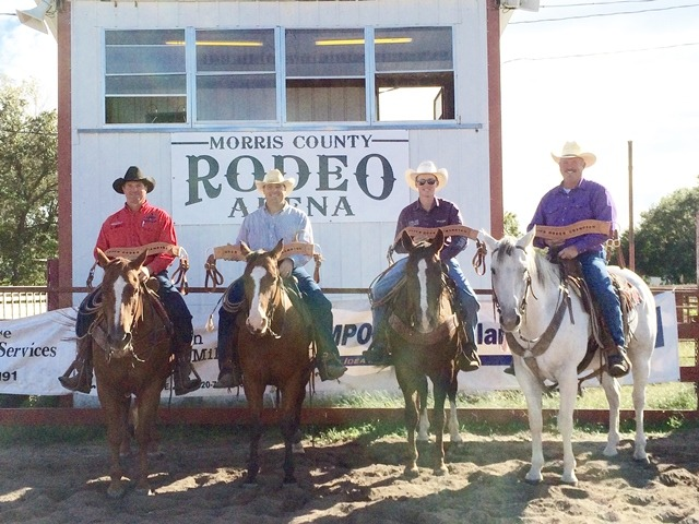 A Buck Creek-Lonesome Pine Ranches team of Bud Higgs, Doug Scribner, Troy Higgs and Randy Peterson claimed championship honors at the 28th annual Fall Ranch Rodeo sponsored by the Morris County Youth Rodeo Association Sunday afternoon at Council Grove. (Photo by Janon Johnson.)