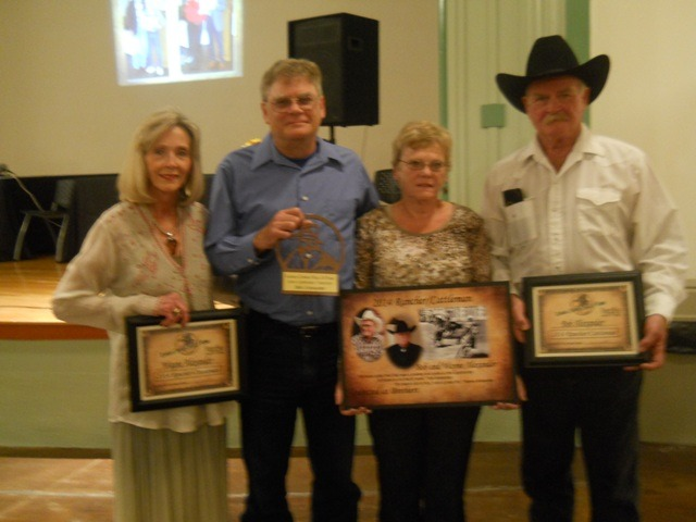 The cattlemen/ranchers category, Bob and Wayne Alexander of Council Grove were inducted into the Kansas Cowboy Hall of Fame during ceremonies Saturday evening at Dodge City. Nancy Alexander Sharp accepted the awards for her dad, Wayne Alexander, and Jeff Alexander, Barbara Lerner and Tom Alexander accepted the recognitions on behalf of their father, Bob Alexander.