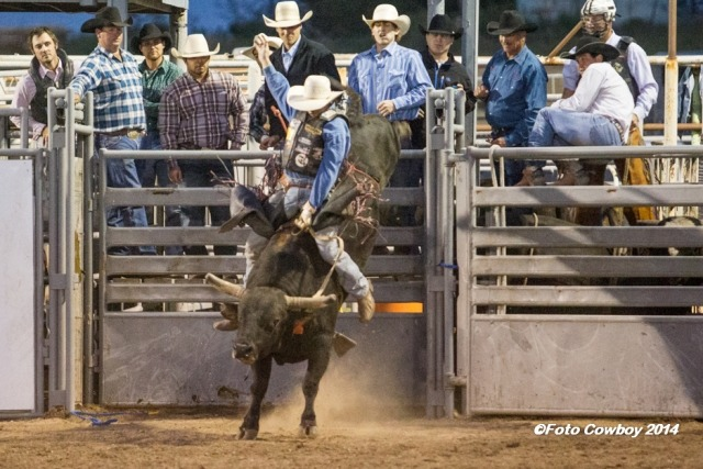 """Overstreet of the Flint Hills Genetics bucking bull breeding program was the winner in the match with J.T. Barrett of El Dorado during the Flint Hills Bull Blowout at Strong City. (Photo by Kent Kerschner) Photography - """"Foto Cowboy."""""""