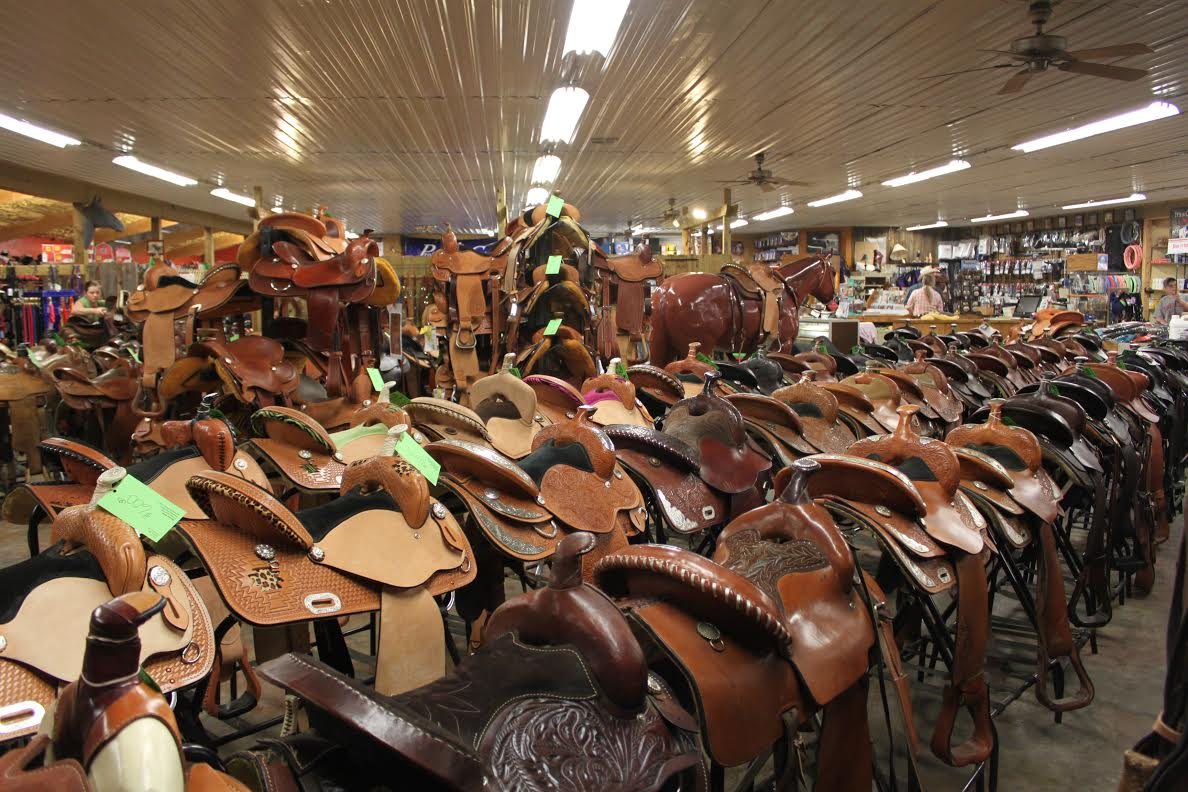 More than 400 new and used  saddles of about any description imaginable are always available at The R Bar B, northeast of Topeka, offering undeniably the largest saddle selection in the Midwest, and most likely anywhere.