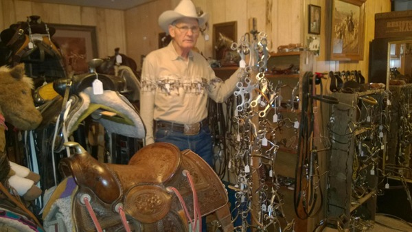Larry Browning has a vast collection of bits, spurs and saddles at the Circle B- near Emporia.