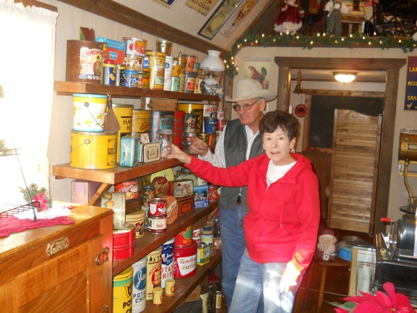 Merchandise tins and signs have been collected, are displayed and for sale in Sandy's  Country Store at the Circle B- near Emporia.