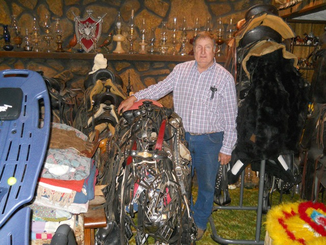 Silver parade saddles including some from the famous maker Ted Flowers as well as white Hereford saddles are included in Stan Seuser's Western mementos as well as kerosene lamps, several more than a century old.