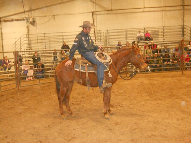 """""""Good job,"""" trainer Scott Daily of Arkansas City praised the three-year-old filly after he'd ridden her freely after only 30 minutes of work, during a seminar at the Topeka Farm Show."""