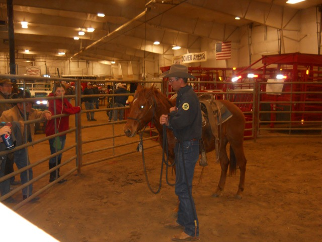 Several spectators gathered to the round pen and questioned trainer Scott Daily after the Arkansas City horseman safely and calmly rode a young Quarter Horse with just 30 minutes of work during the Topeka Farm Show.