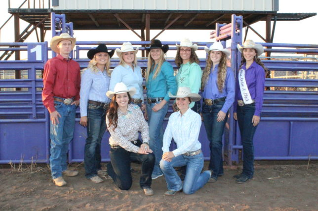 Kansas State Rodeo Club Executive Board 2014-2015 Officers of the K-State Rodeo Club include (back ) Austin Jackman,  Ag Council representative; Casey Adams, vice president; Shelby Leonhard, secretary: Mikhayla DeMott, president; Jackie Neville, facilities; Brooke Boyington, social chair; Miss Rodeo K-State Danielle Stuerman; (front) Brooke Wallace, advertising chairperson; and Sara Nutsch, treasurer. Not pictured are  Tanner Brunner, stock chairman; Rodeo Team Coach Doug Muller, and Mary Staub, assistant treasurer: