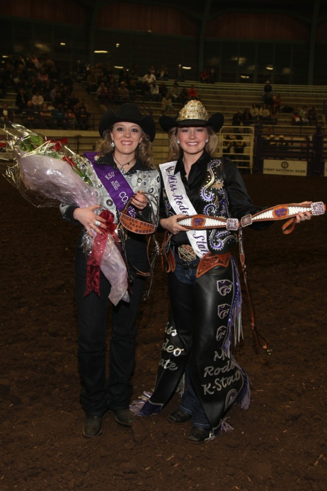 Lindy Singular, Linn, was crowned as the 2013 Miss Rodeo K-State by 2012 Miss Rodeo K-State Abbey Pomeroy before the third performance of the recent 57th annual K-State Rodeo at Manhattan. (Beth McQuade photo)