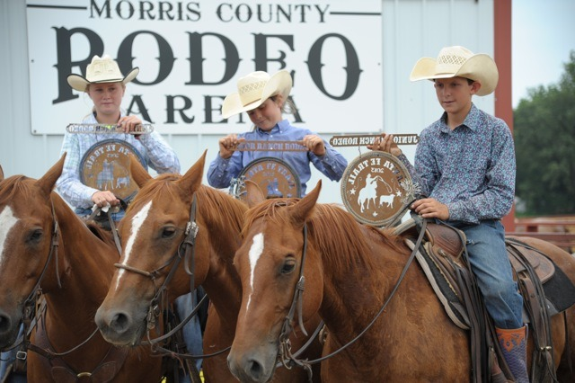 Lonesome Pine Ranch of Chase County was represented by Mackenzie Higgs, Carlee Potter and Colton Potter to win the Santa Fe Trail Junior Ranch Rodeo at Council Grove. (Bruce Hogle photo)