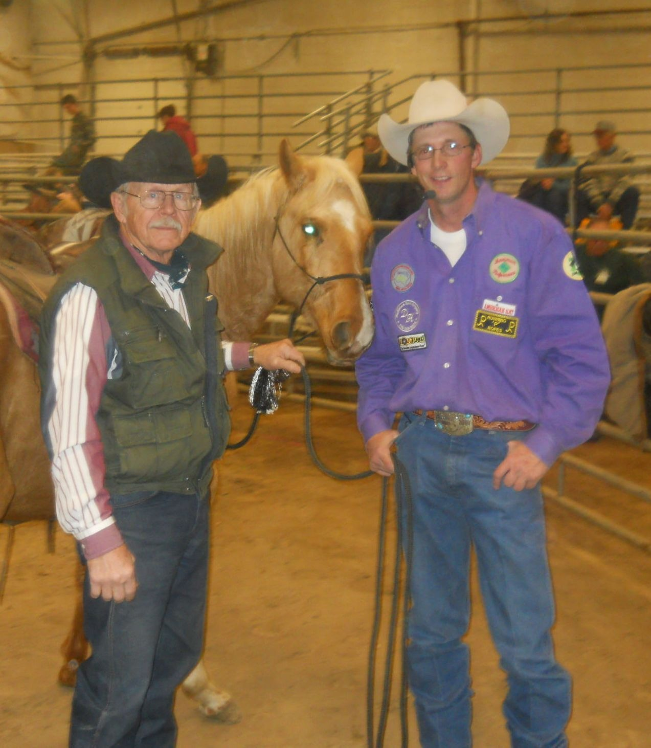 Mike Mikos, Eskridge, provided the palomino Quarter Horse that Scott Daily, Arkansas City, used in one of his colt-starting sessions at the Topeka Farm Show.