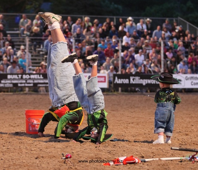 """""""Radical"""" Ryan Rodriquez, Phillipsburg, five times recognized as the Clown Of The Year by the Professional Rodeo Cowboys Association, will entertain at the Brett Cushenbery Memorial Bull Riding Saturday evening, April 27, in Manhattan. His sons, Rad and Riot, will also be part of the performance."""