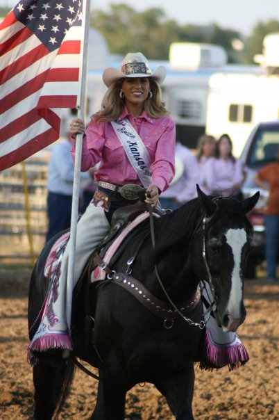 Rodeo queens step in to help where needed at all times, and most importantly spread the true story of rodeo through public programs and presentations, attendance and helping with rodeos, horse activities and events of all kinds, said Meredith Thompson, who serves as coordinator of the Miss Rodeo K-State Pageant. Shown at a Harry Vold Rodeo Company rodeo during her reign as Miss Rodeo Kansas 2009, she was Miss Rodeo K-State 2006. Miss Rodeo K-State 2015 will be crowned prior to the Saturday night performance of the 59th annual K-State Rodeo, February 20-21-22, at Manhattan.