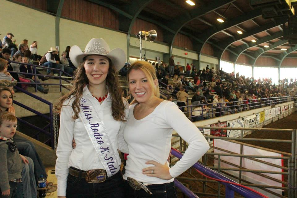 Miss Rodeo K-State 2014 Danielle Stuerman was crowned during the 2014 KSU Rodeo, where she visited with Meredith Thompson, coordinator of the Miss Rodeo K-State Pageant. Stuerman will pass her duties to Miss Rodeo K-State 2015 during coronation ceremonies before the Saturday night performance of the 59th annual K-State Rodeo, February 20-21-22, at Weber Arena on the Kansas State University campus in Manhattan.