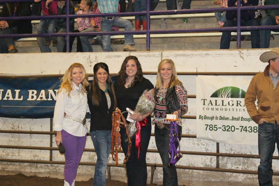 Four cowgirls who have reigned at Miss Rodeo K-State assisted with queen coronation ceremonies at least year's K-State Rodeo. They are pageant coordinator Meredith Thompson, Courtney Hall, Meagan Brockhoff and Abbey Pomeroy. Miss Rodeo K-State alumni continue to assist with the competition, and several are expected at this year's coronation before the Saturday evening performance of the K-State Rodeo,  February 20-21-22, at Manhattan.