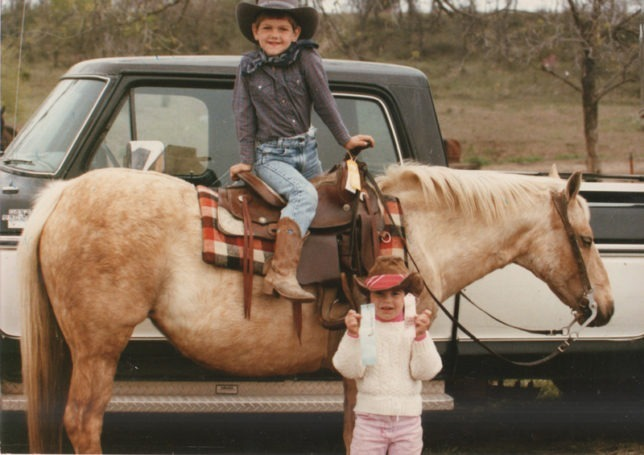 Horses from the start, Kylie Fowler, then four, and her big brother Garrett, then six, are at a horseshow in June, 1988, at the Topeka Roundup Club.