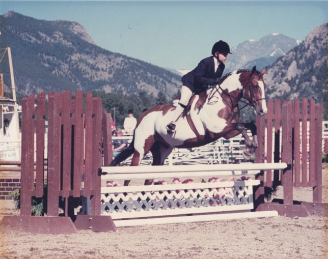 """Kylie Fowler, then nine, rode Patch in an """"A"""" hunter-jumper show at Estes Park , Colorado."""