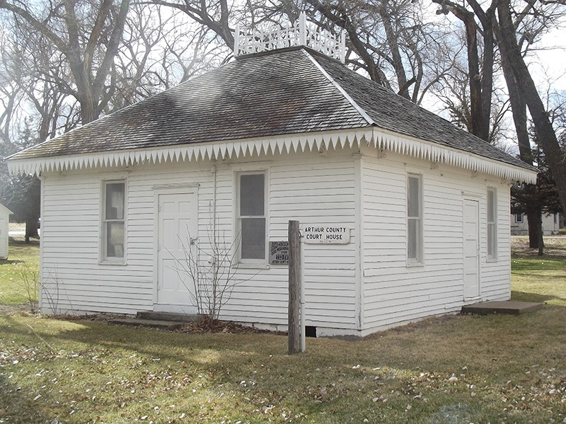 Arthur County, Nebraska, formerly was governed through the smallest court house in the United States. Built in 1915, the Arthur County Courthouse and Jail complex in Arthur, Nebraska, is now maintained by the Arthur County Historical Society, and is listed in the National Register of Historic Places. (Photo by Ron Jageler.)