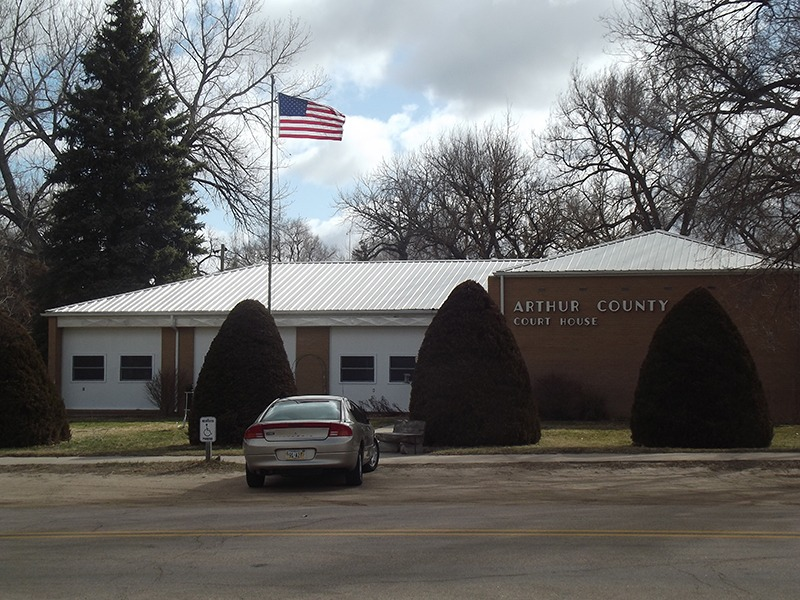 Today, an attractively-designed structure serves as the Arthur County Courthouse in Arthur, Nebraska. (Photo by Ron Jageler.)
