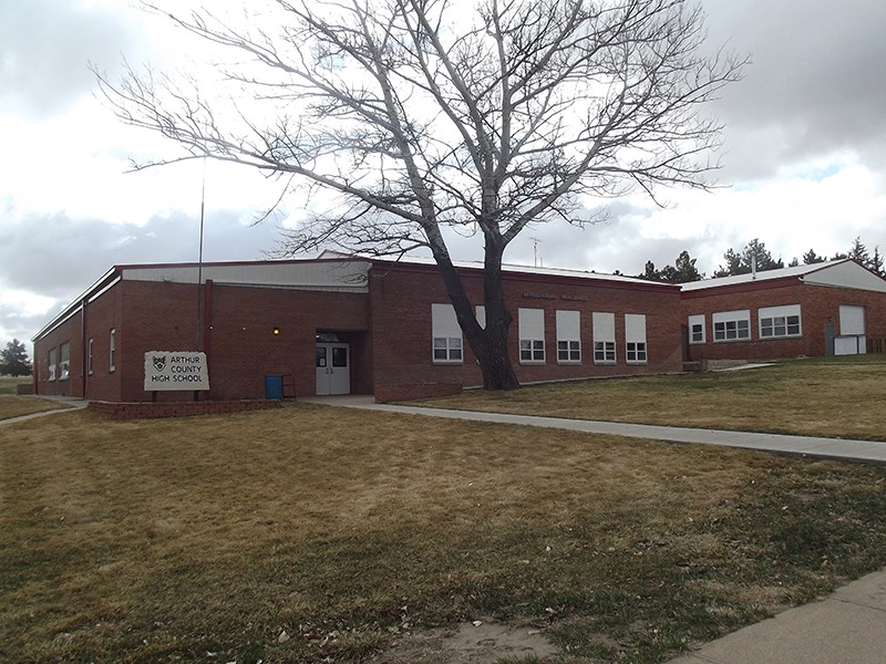 At Arthur, Nebraska, junior high school is combined with high school, and there are ten teachers. (Photo by Ron Jageler.)