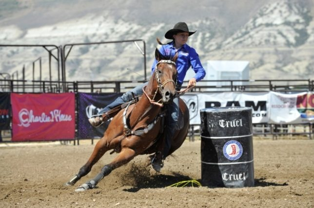 Paige Wiseman, Paola, is on Sailing Harlan in the barrel race  last summer at the National High School Rodeo Association Finals in Rock Springs, Wyoming.