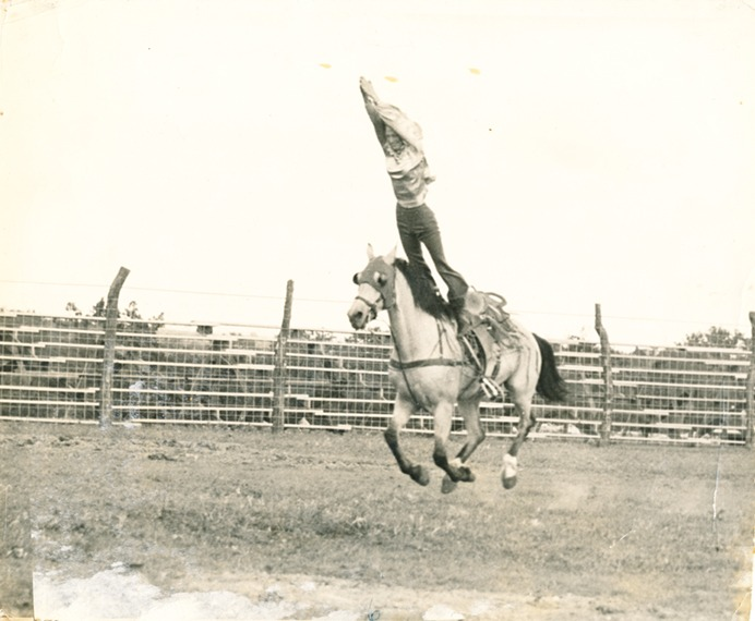 World champion cowgirls were honored right up with the cowboys in earlier generations, and Marjorie Roberts was a champion bronc rider also recognized as much for her diverse contract acts including trick riding at major rodeos around the country.