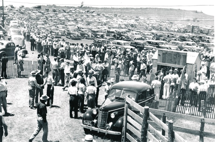 It was a sign of the times, undeniable by the transportation driven by rodeo spectators from throughout the Midwest to attend the Flint Hills Rodeo at Strong City in the mid-1940s. This year's action features evening performances, June 4-5-6.