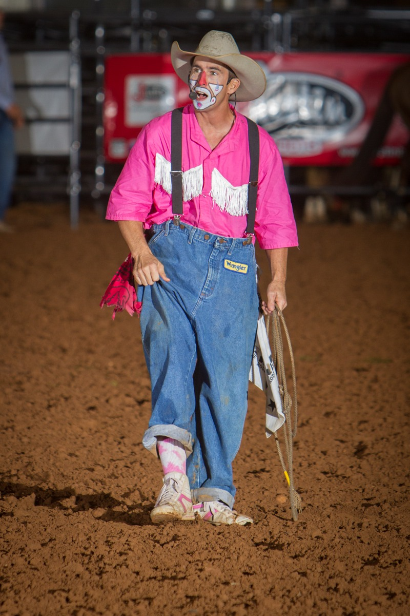 Funnyman Brian Potter, a bullfighter in his own right, will be coming all of the way from Newville, Alabama, to entertain the crowd, and work in and out of the clown barrel assisting bullfighters Garrett Kissack and Daniel Dyson in saving fallen cowboys from injury in the big bad bull riding climax rodeo event each night of the Flint Hills Rodeo, June 4-5-6, at Strong City.