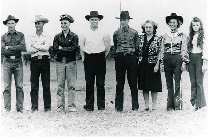 A rodeo family like none before, nor since, E.C. Emmett and Clara Roberts and their family, instrumental in formation of the Flint Hills Rodeo at Strong City 78 years ago, gathered in the early 1940s. They're Ken, Gerald, Clifford, Howard, E.C., Clara, Marjorie and Gloria. Family tradition continues with third, fourth, fifth and sixth generation Roberts relatives as the annual Chase County affair, the Flint Hills Rodeo, airs June 4-5-6, from a meager start in 1937, to one of the longest continuing professional rodeos in the country.