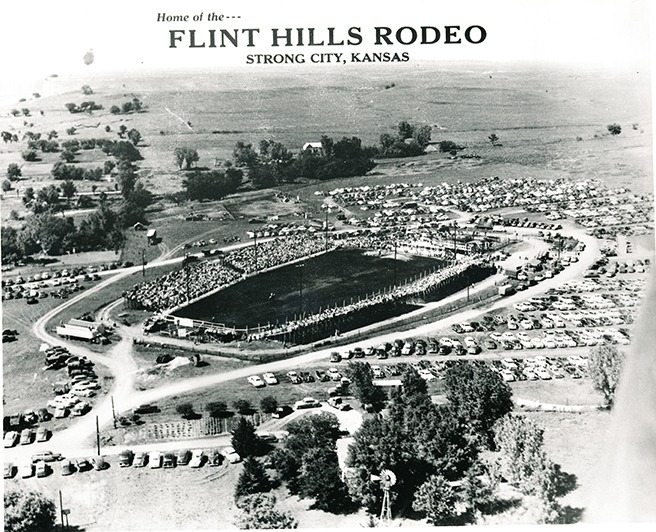 There were full bleachers for the Sunday afternoon performance of the Flint Hills Rodeo at Strong City, Kansas, in 1951. This year's 78th annual rodeo at the same location has evening performances set June 4-5-6, beginning at 8 o'clock.