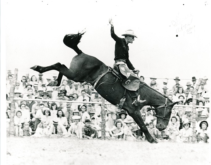 """It was 1939, before becoming a renowned world champion cowboy, Gerald Roberts of Strong City, Kansas, won """"his event"""" the saddle bronc riding at his hometown competition, the third annual Flint Hills Rodeo, celebrating its 78th anniversary, June 4-5-6, at Strong City."""