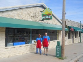 Owner Shane Tiffany, right, and manager Aaron Monihen are out front of the new Alta Vista Market serving the western Wabaunsee County small town and surrounding communities.