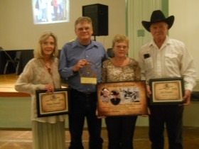 In the cattlemen/ranchers category, Bob and Wayne Alexander of Council Grove were inducted into the Kansas Cowboy Hall of Fame during ceremonies Saturday evening at Dodge City. Nancy Alexander Sharp accepted the awards for her dad, Wayne Alexander, and Jeff Alexander, Barbara Lerner and Tom Alexander accepted the recognitions on behalf of their father, Bob Alexander.