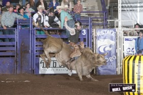 """Kolten Beck, Clay Center, has rodeo genes of the world renowned Roberts rodeo family of Strong City, and has aspirations to be a champion like his ancestors of more than half a century ago. A junior studying ag technology at Kansas State University in Manhattan, Beck competed in bull riding out of the university's Purple Power chutes during January. (Copyrighted photo courtesy of Kent Kerschner Photography, """"Foto Cowboy,"""" fotocowboy@sbcglobal.net.)"""