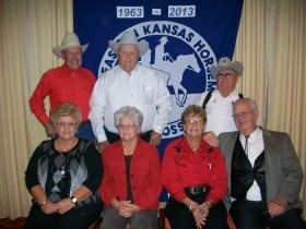 During the golden anniversary celebration at the yearend awards banquet for the Eastern Kansas Horseman's Association, these members who have been leaders and participants since the beginning reviewed changes that have occurred in the horse show group during the past 50 years. Shown are (front) Ann Langvardt, Marlene Flinn, Faye Heath, Marshall Heath, (back) Frank Buchman, Howard Langvardt and Ron Shivers.