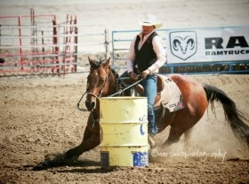 The fastest time in barrel racing at Colby Community College's National Intercollegiate Rodeo Association rodeo during the 2012-13 season was set by Micah Samples of Abilene on her Quarter Horse called Tag. (northuophotography)