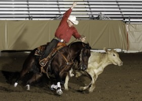 Hes Wright On, owned by Gardiner Quarter Horses of Ashland, was ridden by Doug Williamson to win the 2010 Worlds Richest Stock Horse Championship, seen here. In 2012, the team captured the NRCHA Open Bridle Championship. (Photo from Quarter Horse News.)