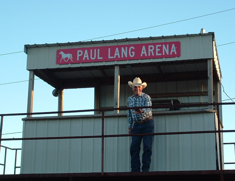 Paul Lang was one of the original directors of the Burlingame Saddle Club 45 years ago and remains active today, appropriately recognized with the club's arena dedicated in his name. The 45th annual Santa Fe Trail Rodeo is Friday and Saturday evenings, May 15-16, at the arena.