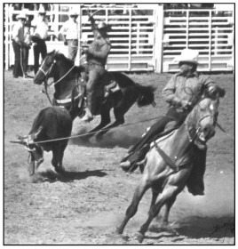 Generally winners in rodeo competitions throughout the Midwest and the country, Bob Alexander was on the head, as Wayne Alexander caught the heels to win an Old Timers Rodeo team roping not that many years ago in Hyannis, Nebraska.