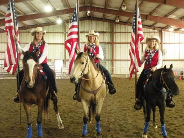 The Pride and Glory Riders drill team will present their inspirational and most colorful tribute as the opening ceremony for both evening performances at the 45th annual Santa Fe Trail Rodeo, Friday and Saturday, May 15-16, in Burlingame.