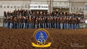 Cowboys and cowgirls from nine states gathered at Topeka for the 50th yearend finals rodeo of the United Cowboys Association. When the bulls had been penned, and the dust almost settled, Derrick Younger of Oskaloosa, Iowa, collected the all-around cowboy title with $14,382 won in calf roping and team roping at rodeos throughout the year. (Photo by TF Event Photography.)