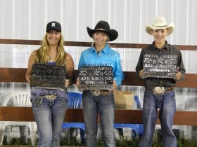 All-around awards at the Morris County Youth Rodeo in Council Grove, went to Cheyenne Larson, White City, senior cowgirl; Beau Peterson, Council Grove, intermediate cowgirl; and Camden Hoelting, Olpe, intermediate cowboy. Brent Orr, White City, was the all-around senior cowboy. (Photo by Amy Allen.)