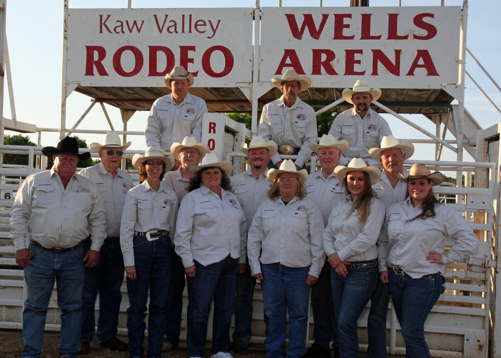Officials of the Kaw Valley Rodeo Association, sponsor of the 40th annual Kaw Valley   Rodeo, Thursday through Saturday, July 23-24-25, with performances at 8 o'clock, each evening at Wells Arena in Cico Park, Manhattan, include: Steve Frazier, Secretary Peggy Frazier, Treasurer Sandy Chandler, Brenda Bayne, Gwyn Fuqua, Beth McQuade, (middle row) Gene Klingler, Doug Williams, Joshua Kinder, Dick Peterson, President Randy Holle, (back row) Dustin Holle, Vice President Blake Area and Neil Boyer.