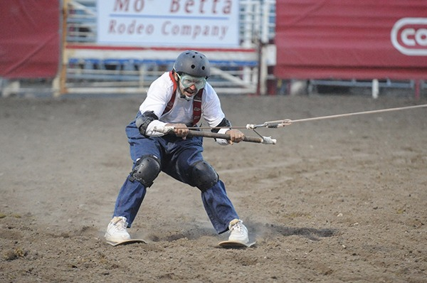 People claim it's impossible to ski in the rodeo arena; that is until they've seen Wolverine Andy Burelle do just that, with frequent spills, chills, and spectator appeal, even when the pickup men and their Quarter Horses must go above and beyond the call of duty.