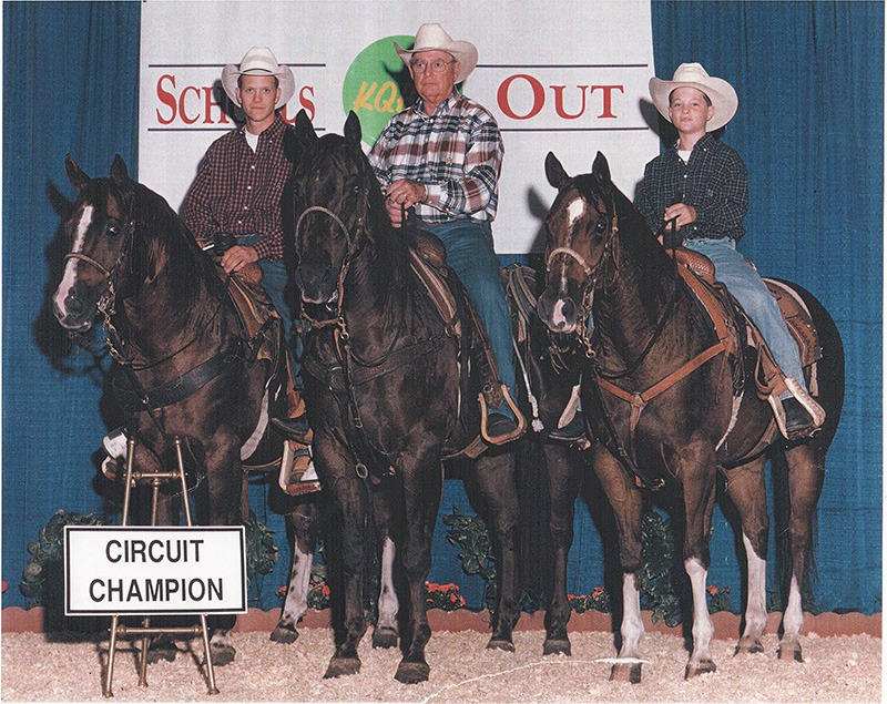 All in the family, Bill James, center, is on Hotrodding Lucky, while his grandsons, Jamie Stover, left, is mounted  on 3J Colonel, and Alex James (right) is riding Hotrod Hilary.
